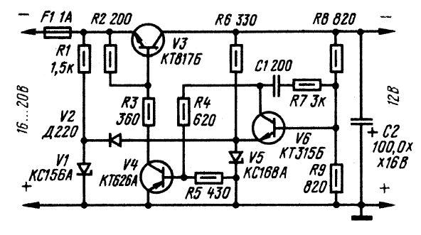 Схема стабилизатора напряжения на 12v